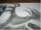 abstract pencil drawing of waves with claws